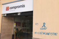 Compromís denuncia el ataque a su sede central con pintadas «catalanofóbicas»
