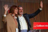 Colau, Valls, Maragall y Forn en la lonja de las elecciones municipales